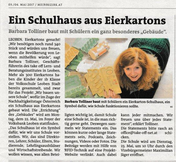 Die Abbildung zeigt den Artikel in der Wochenzeitung die Woche, der auch unter https://www.meinbezirk.at/leoben/lokales/ein-schulhaus-aus-700-eierkartons-d2096903.html nachzulesen ist.
